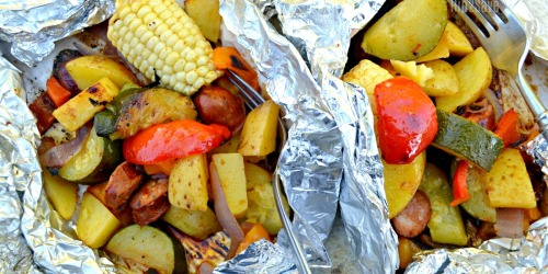 Easy Sausage and Veggie Tin Foil Dinner for Grilling or Camping