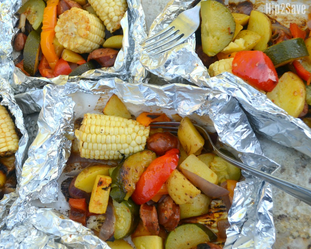 foil wrapped veggies and sausage