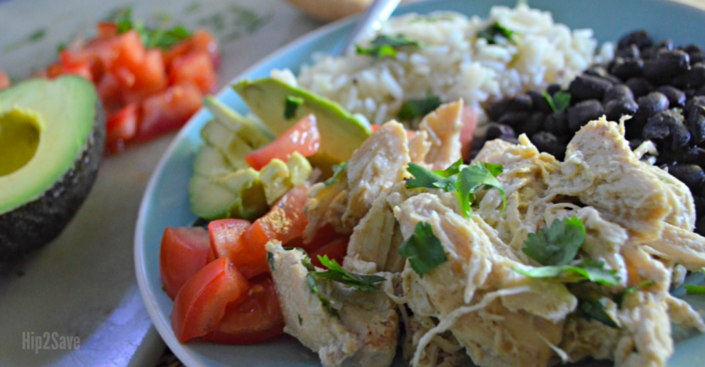 salsa verded chicken with beans and rice on plate