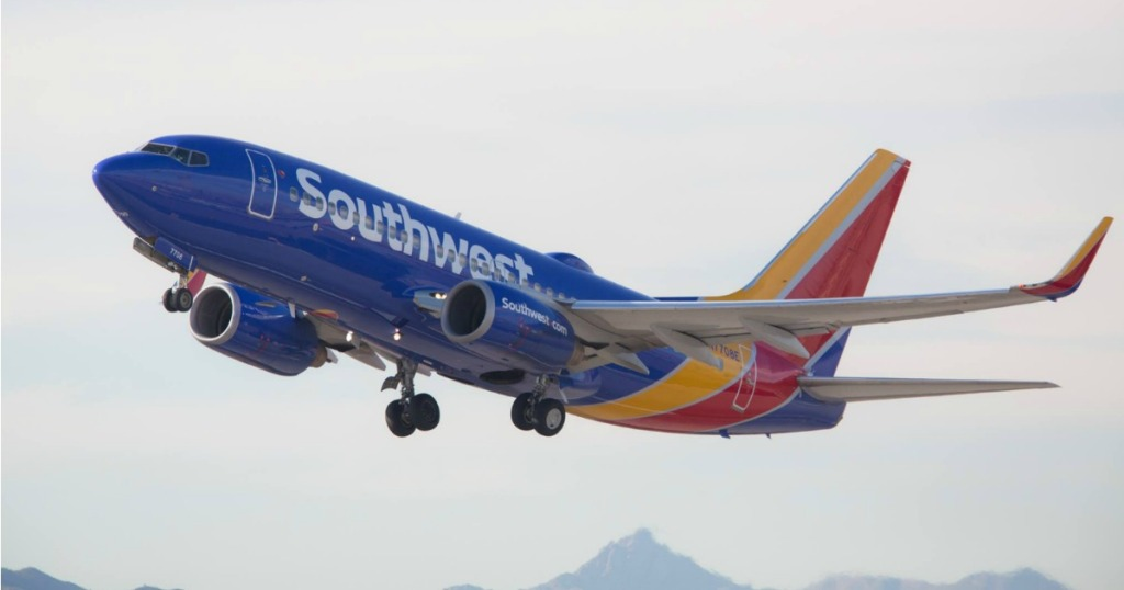 Southwest airplane taking off