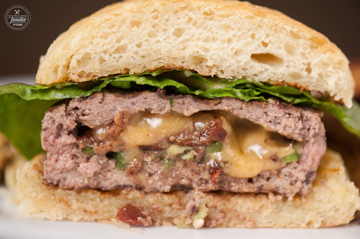 burger stuffed with bacon, jalepeno, and cheese