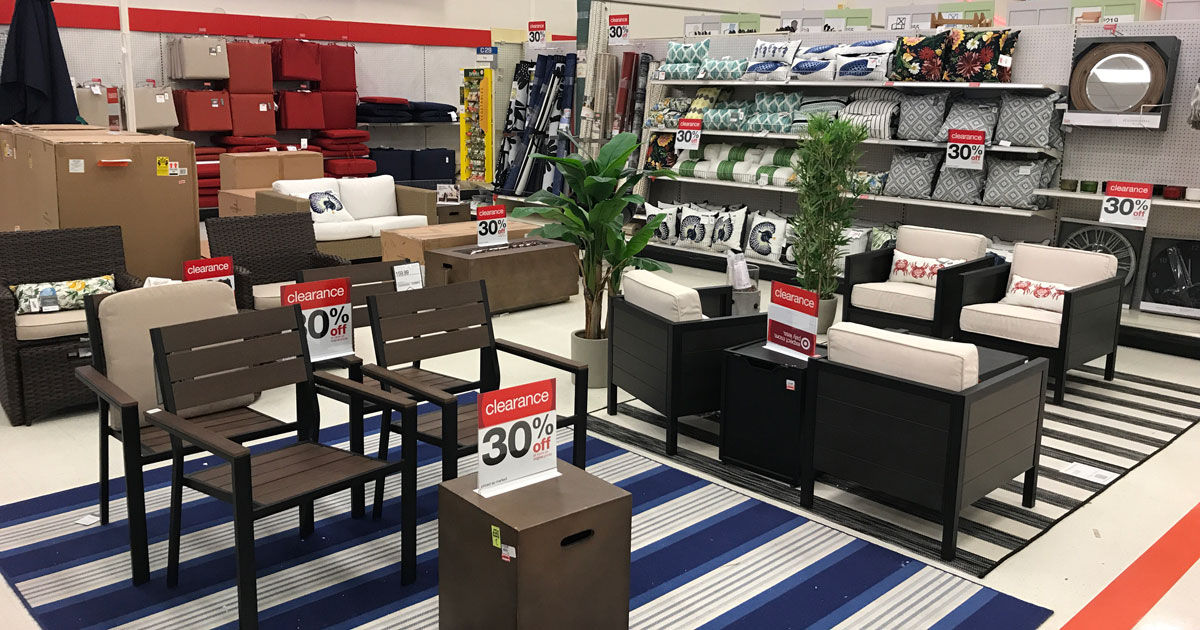 assorted furniture pieces on display in a Target store