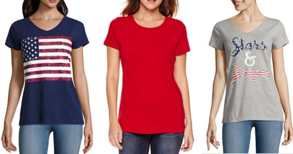28cc5ec6846d JCPenney: FIVE Women's St. John's Bay T-Shirts Only $15 (Just $3 Per Shirt)