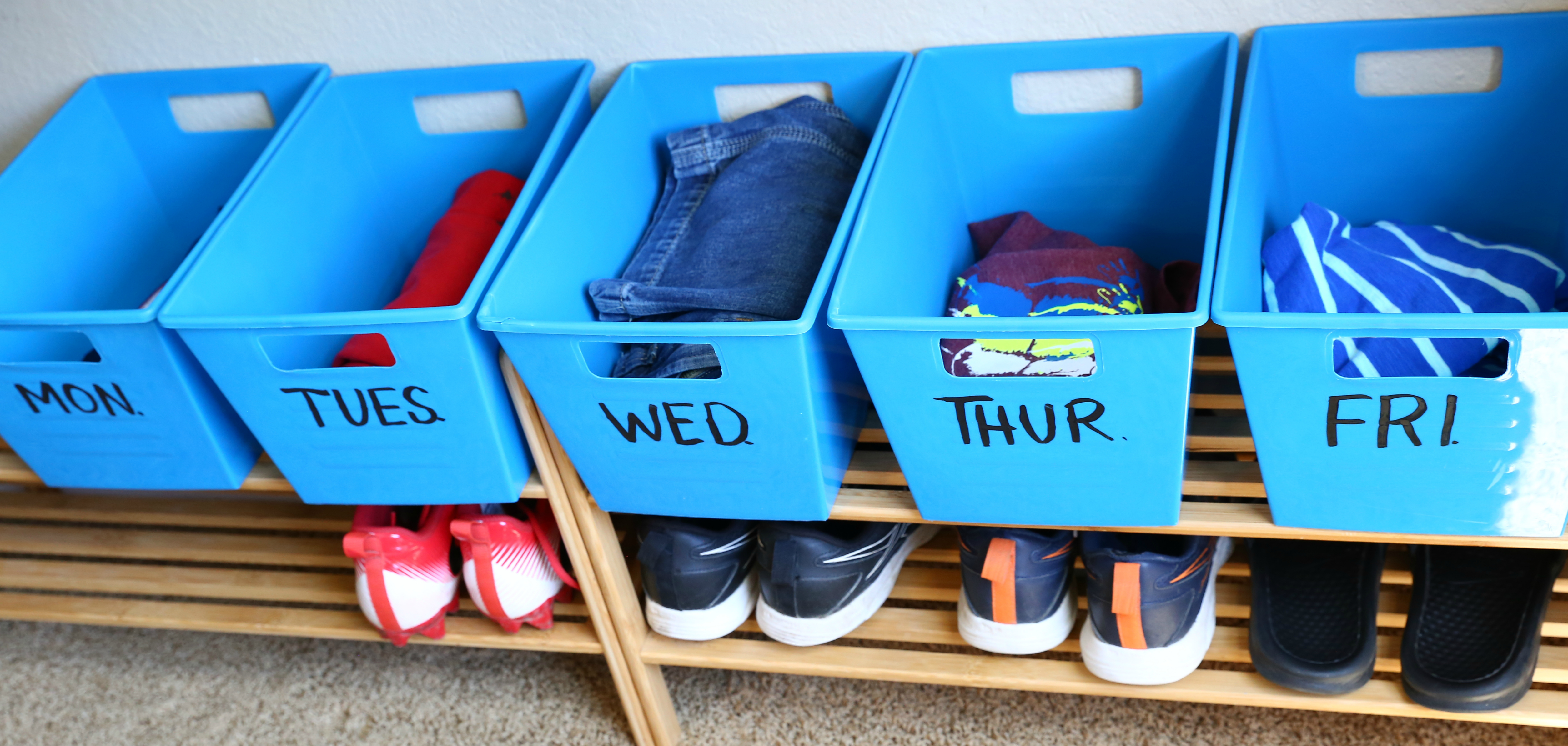 Dollar Tree Back to School hacks – clothing organizer bins