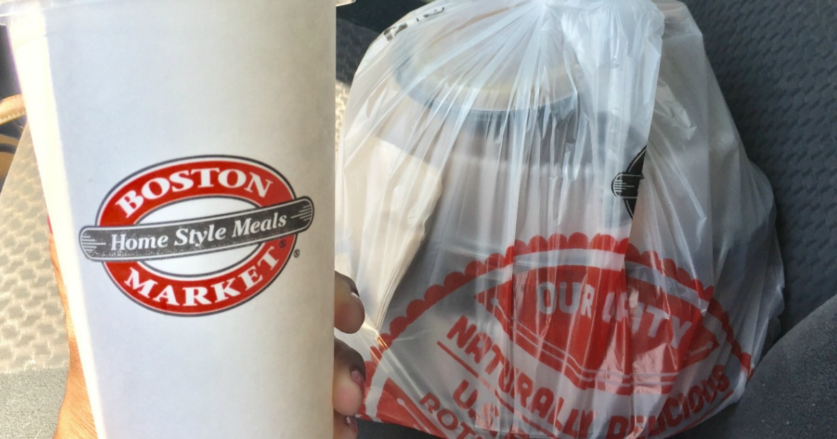 Boston Market cup and bag
