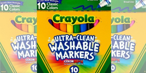 Staples.com: Crayola 10-Count Washable Markers Only $3 (Regularly $6.49)