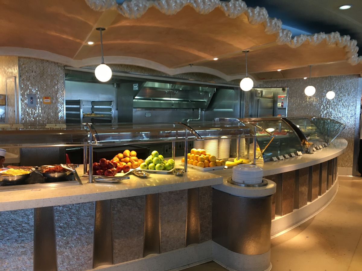 cruise buffet line with fresh fruits