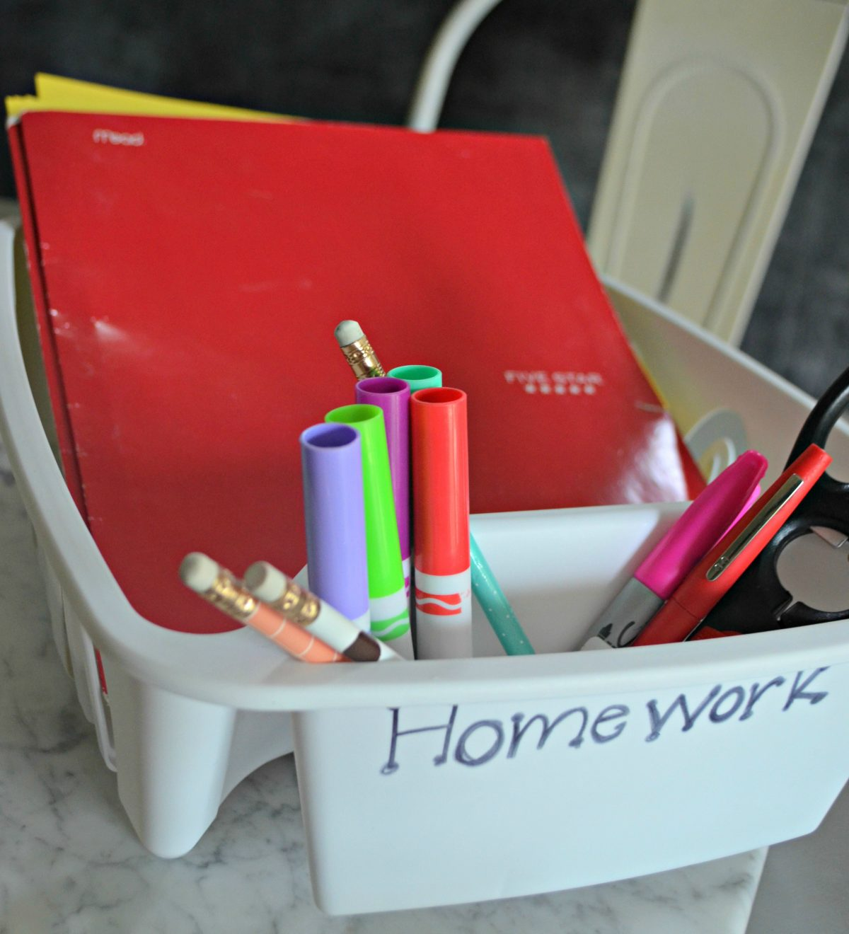 organizer with folders and papers