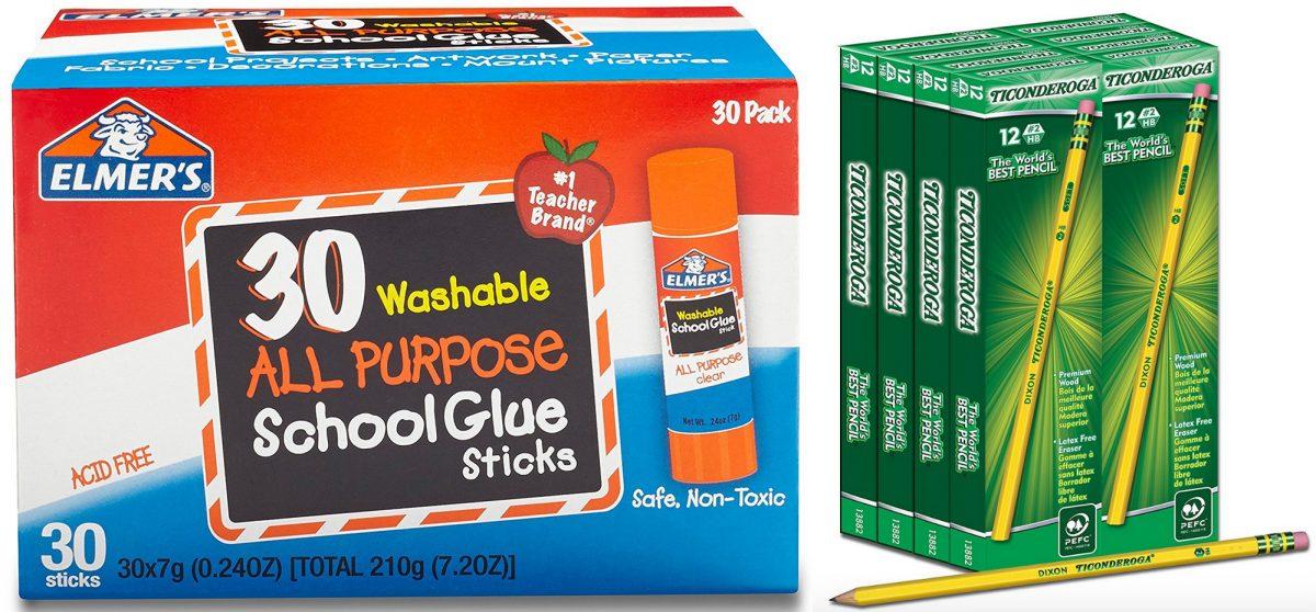 Elmer's glue sticks and Ticonderoga pencils