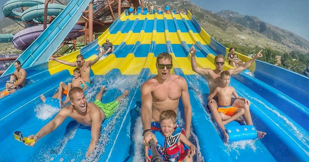 waterslide racer at waterpark