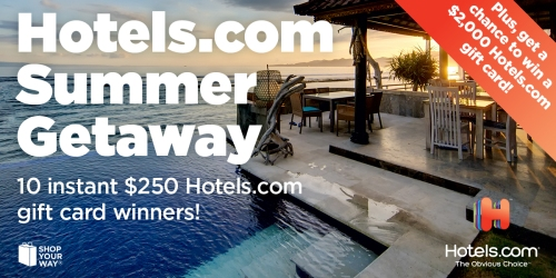 Shop Your Way Instant Win Game: Enter to Win $250 Hotels.com Gift Card or $1,000 Gas Gift Card