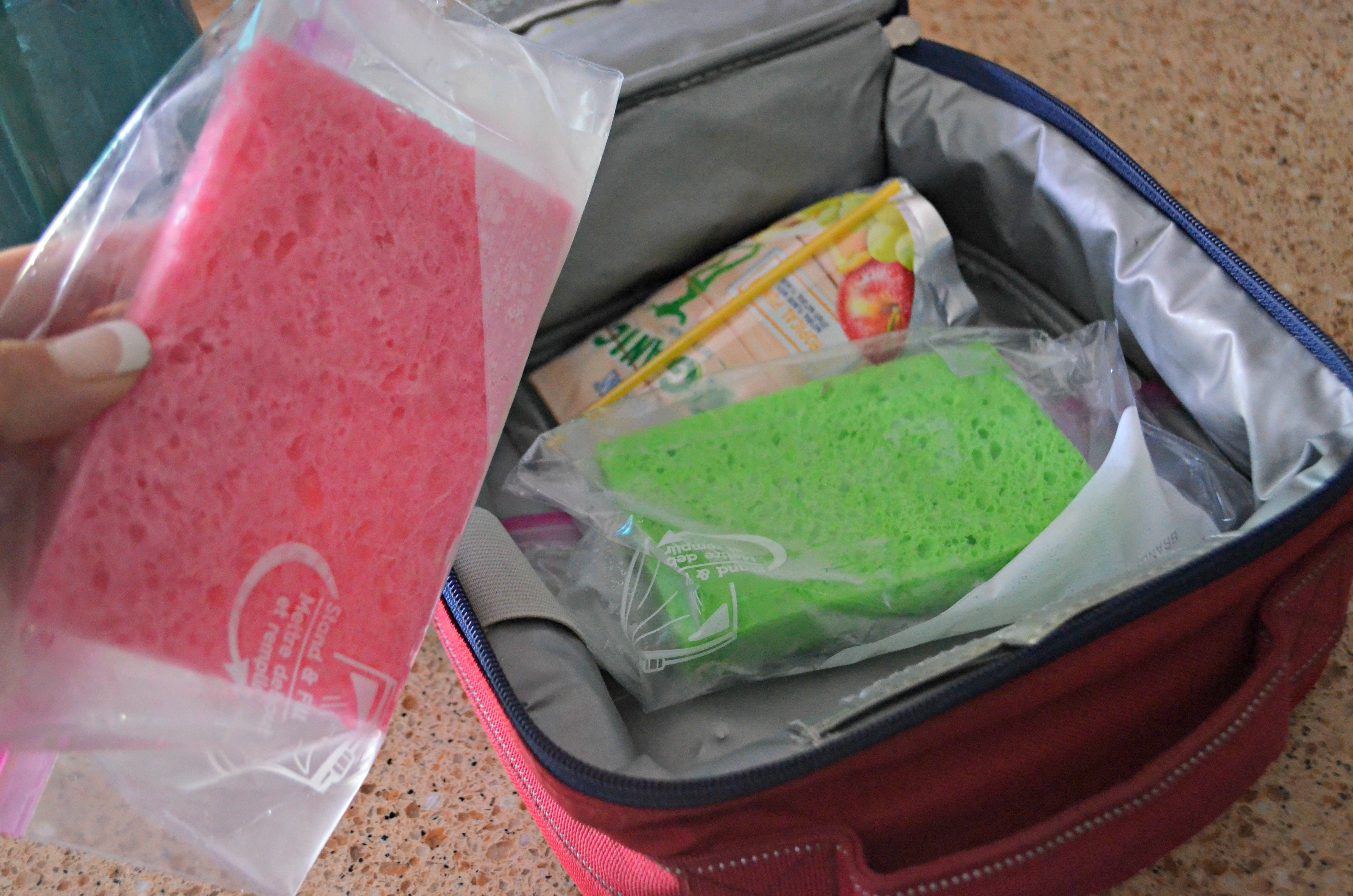 These school clever lunch box hacks are so easy – freeze wet sponges to place in lunchboxes