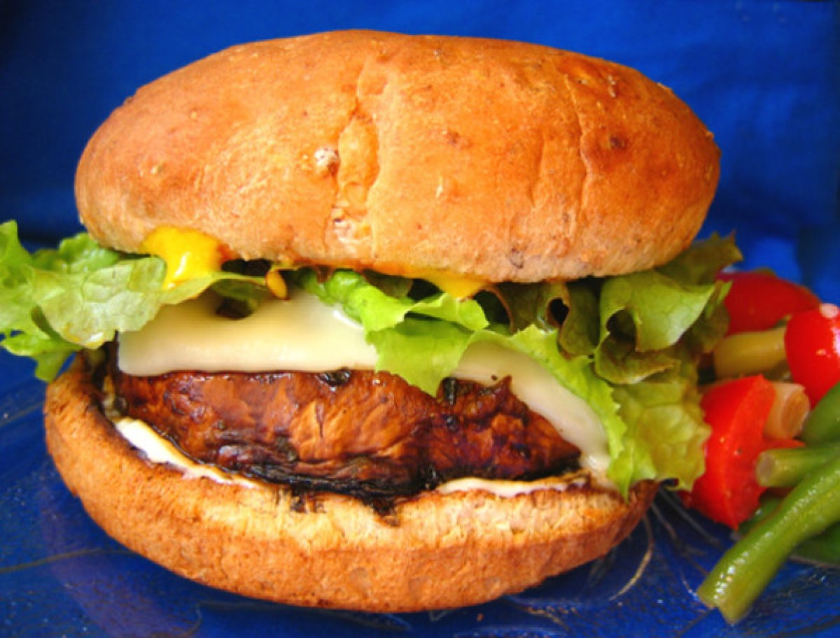 portabella mushroom burger with lettuce and cheese