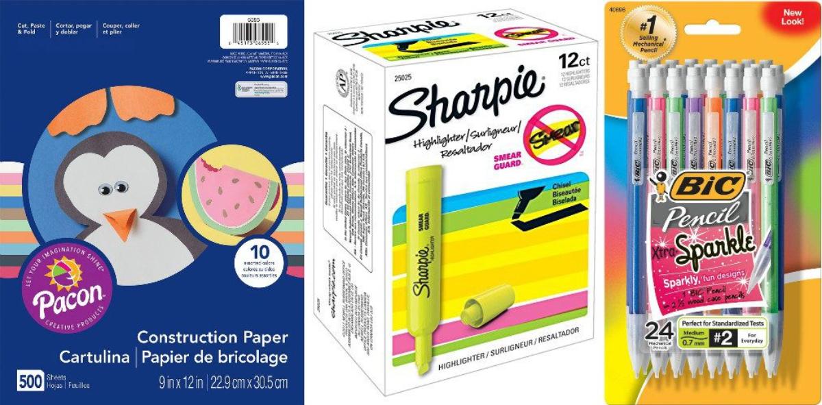 construction paper, sharpies, mechanical pencils