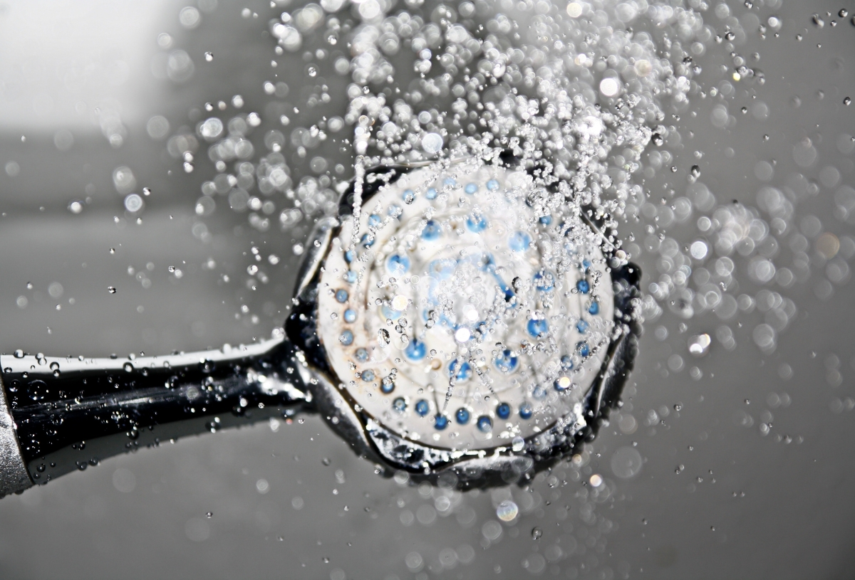 shower head with water coming out