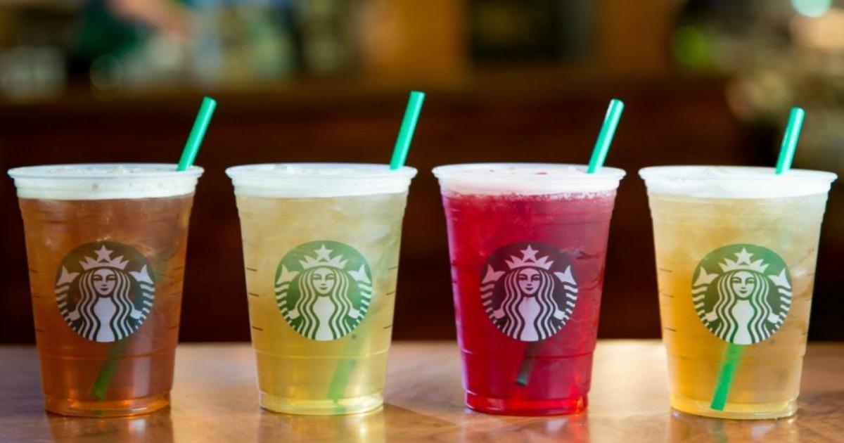 Four varieties of Starbucks sugar-free drinks over ice