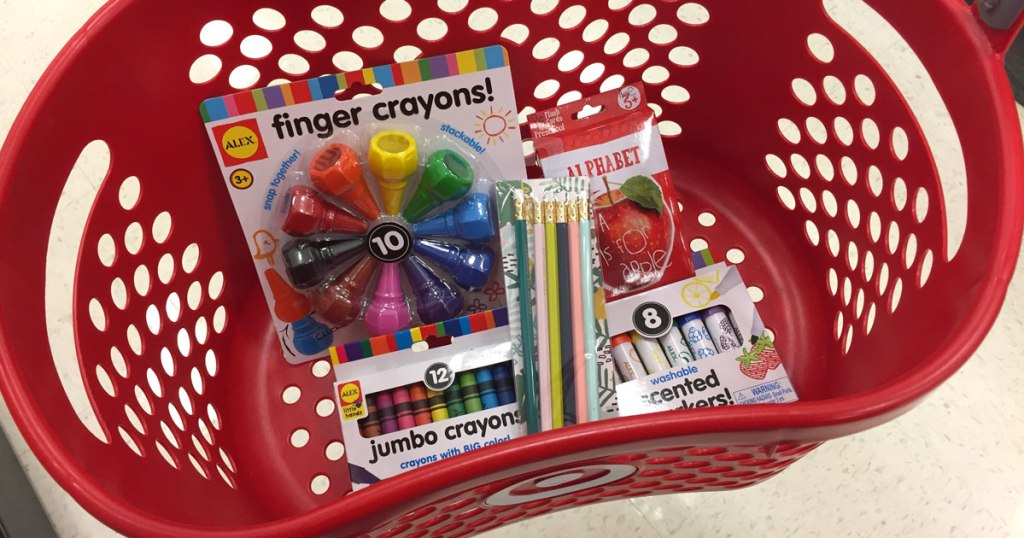 Target basket with preschool supplies