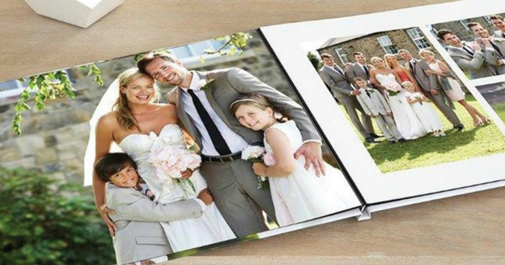 book open with personal photos in it