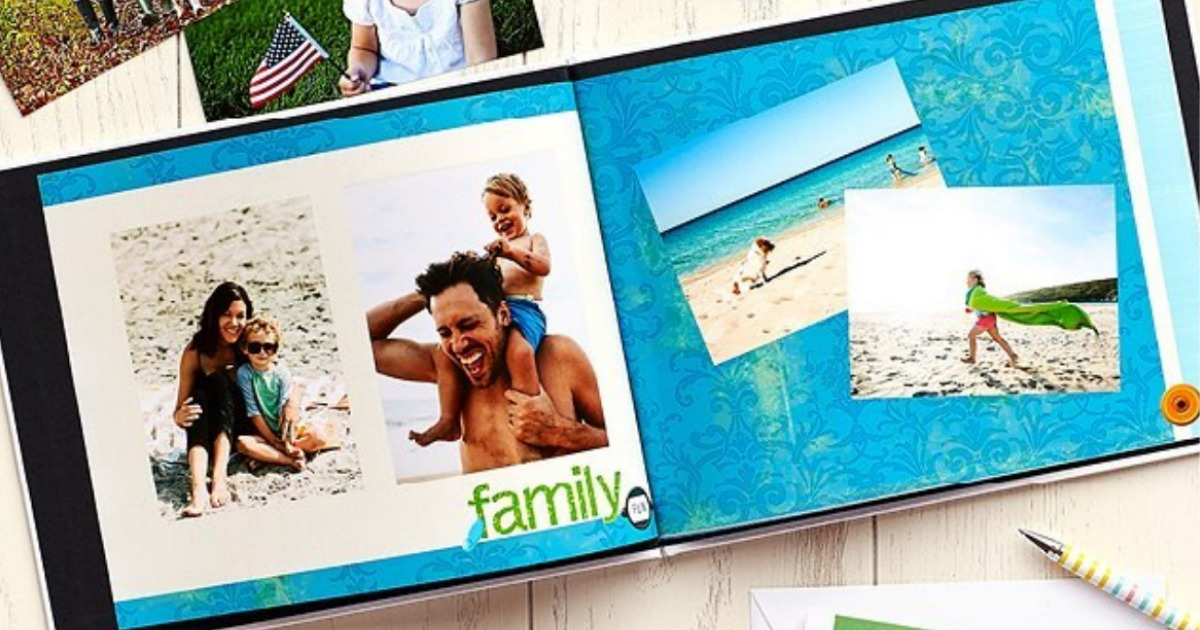 open photo book showing various photos of a family on the beach