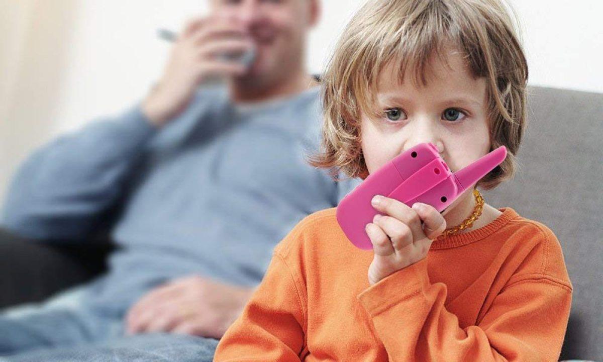 child using walkie talkies