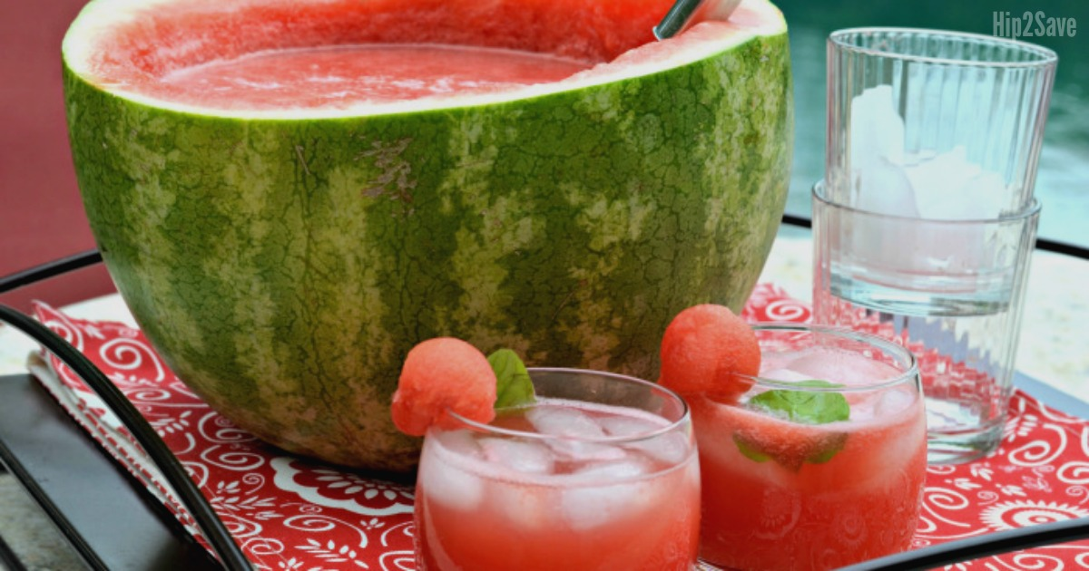Watermelon bowl filled with punch