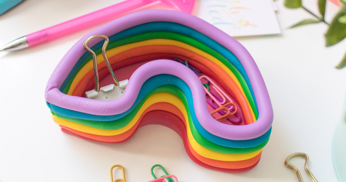 paper clips in handmade rainbow container