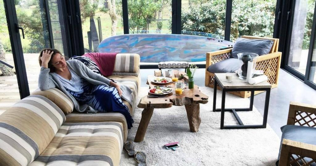woman in rental airbnb