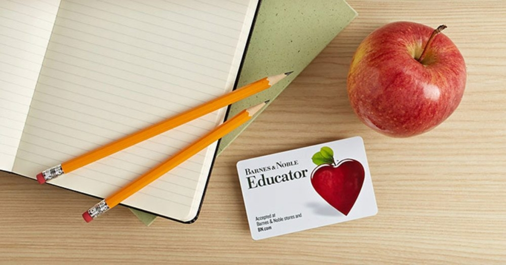 Barnes and Noble Educator card, pencils, apple, notebook