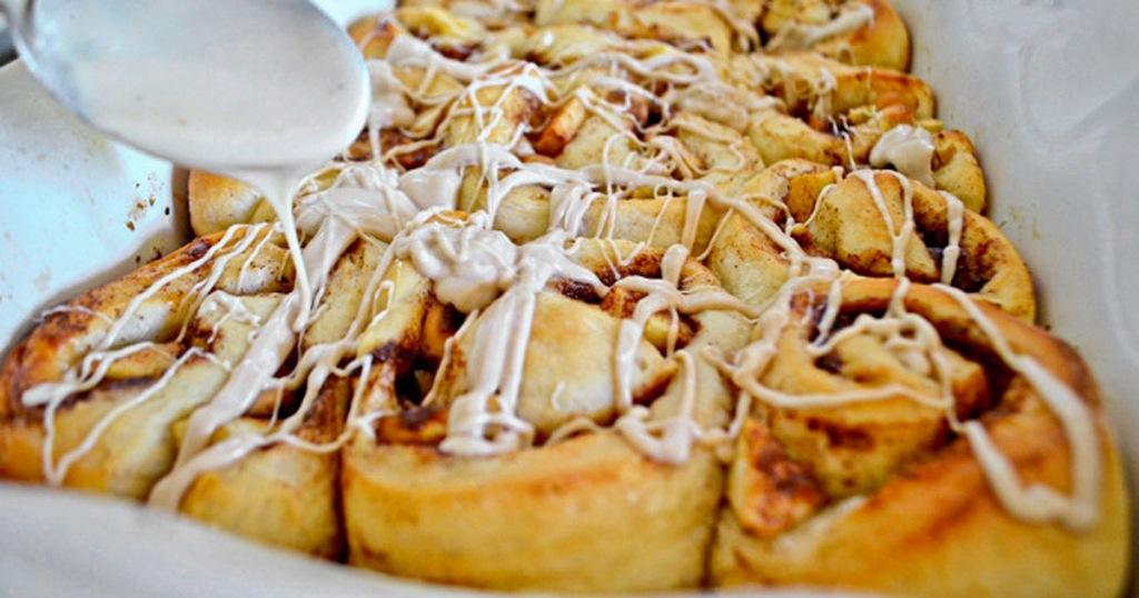 caramel apple cinnamon rolls in a dish