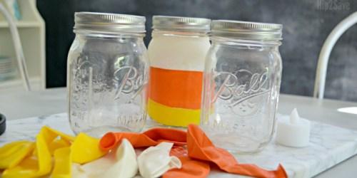 Fall Candy Corn Mason Jars (Easy Dollar Store Craft)