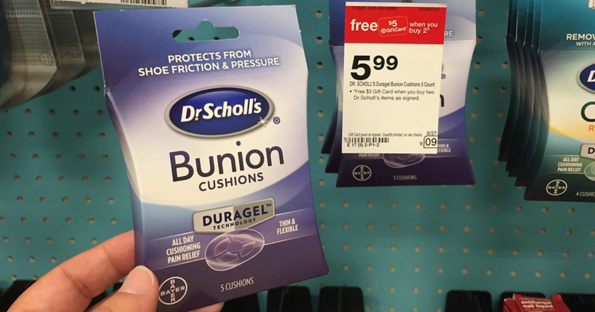 image relating to Dr Scholls Coupons Printable known as Aim: Dr. Scholls Bunion Cushions Only $1.29 Each individual At the time