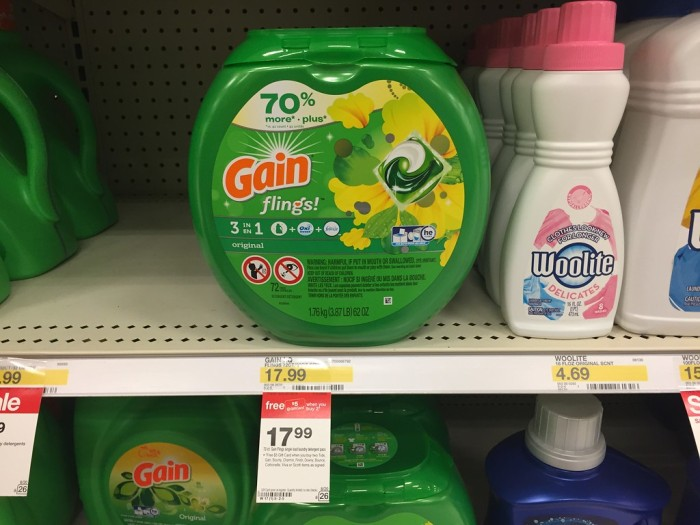 4b8446cb36 And use the  2 1 Tide Detergent or Tide Pods printable coupon (limit 1) Pay   31.98. Get back a FREE  5 Target Gift Card Final cost  26.98