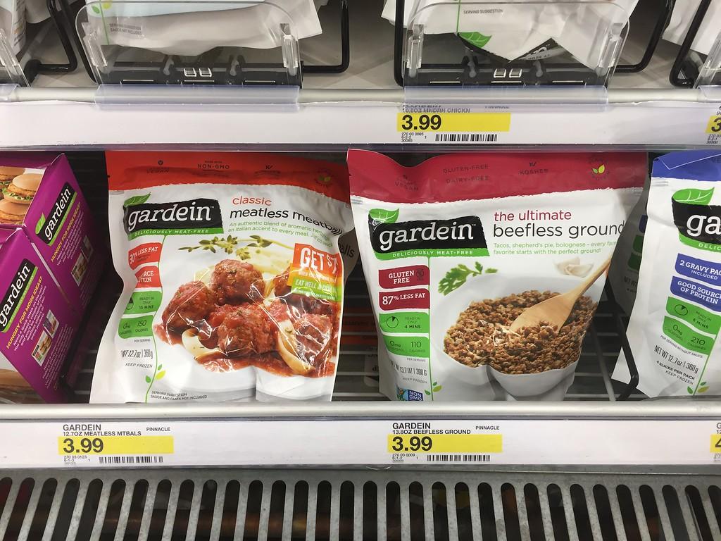 Gardein products in freezer at Target