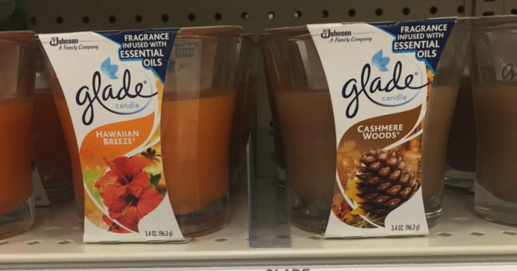 glade candles on a shelf