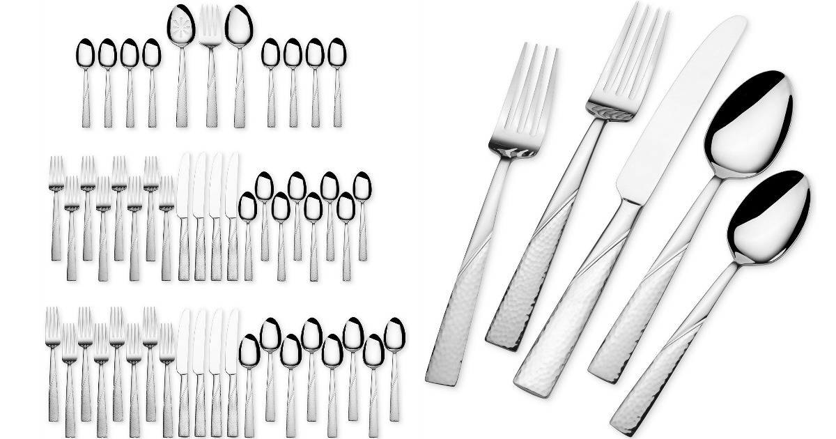 51 piece silverware set with closeup of forks, spoons and knife