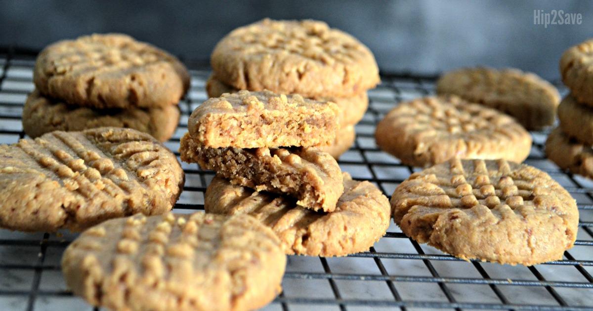 Hip2Keto 3 ingredient peanut butter cookies recipe - cookies on a cooling rack