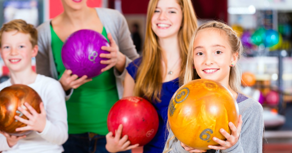 kids with bowling balls