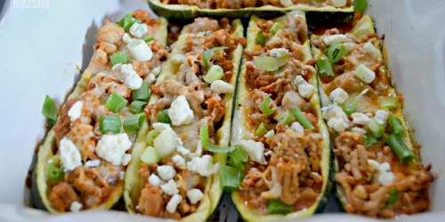 Buffalo Chicken Zucchini Boats (Low Carb & ONLY 4-Ingredients)