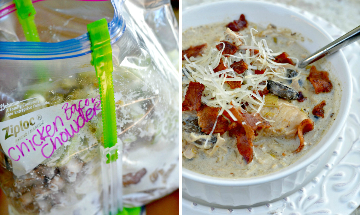 low-carb easy chicken bacon chowder freezer meal in a baggie and in a bowl