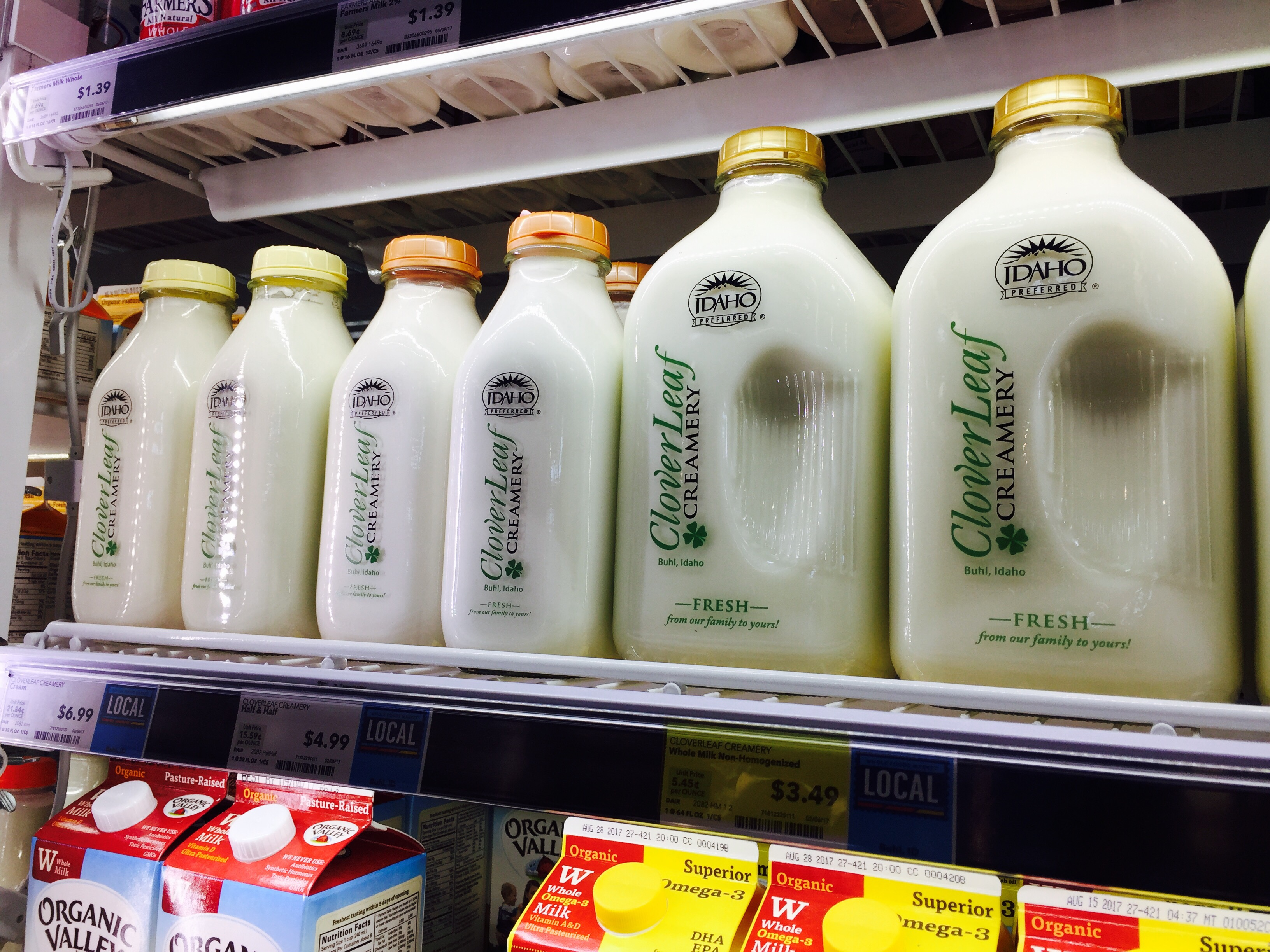 money-saving hacks at Whole Foods Market – refrigerated milk in glass bottles