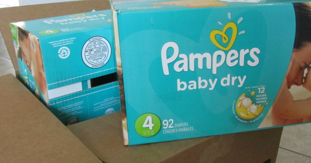 Pampers diapers in Amazon box