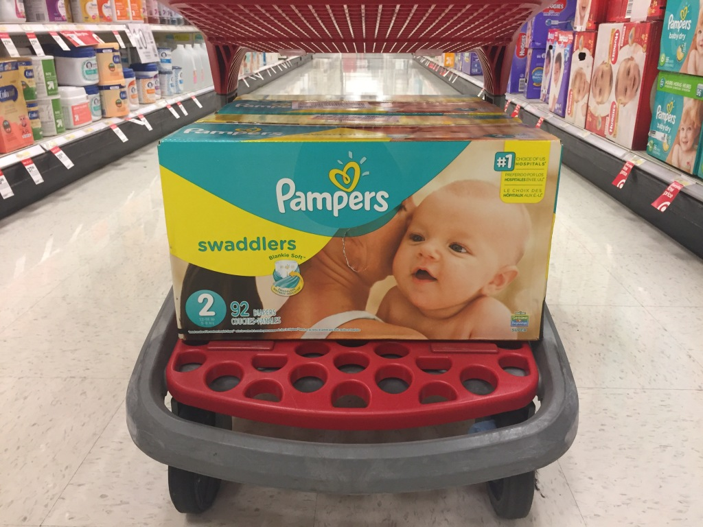 Pampers Swaddlers on bottom of Target cart