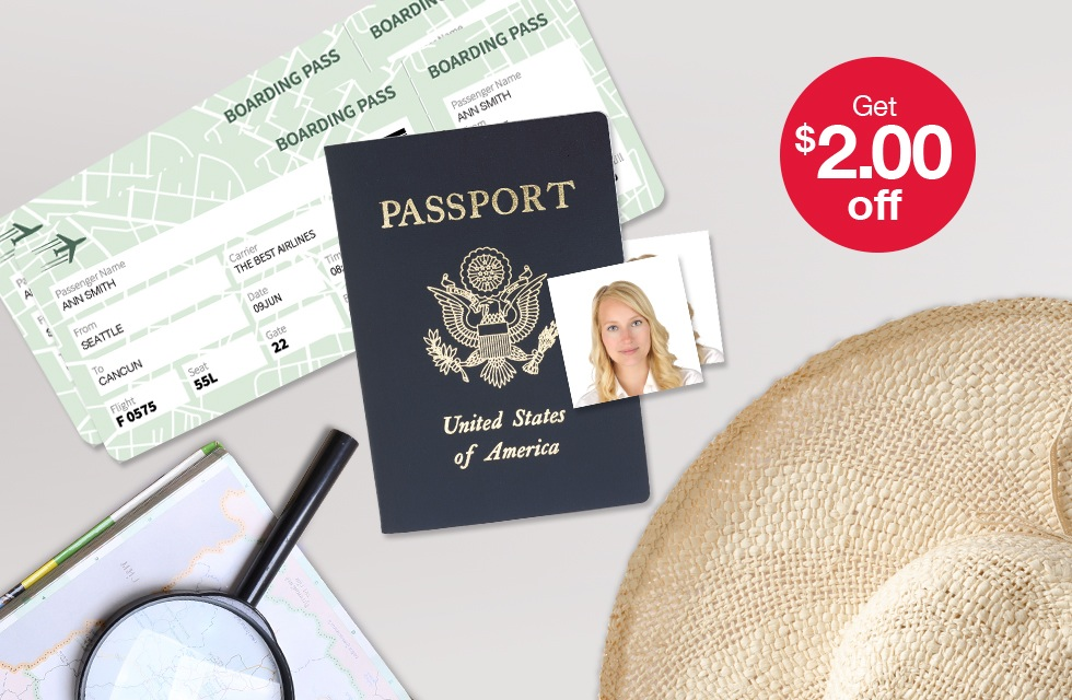 Have you heard the news? Nine states are requiring passports for domestic flights in 2018 - pictured are passport pictures and a map