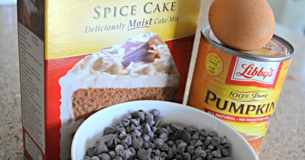 ingredients for pumpkin chocolate chip spice cake squares