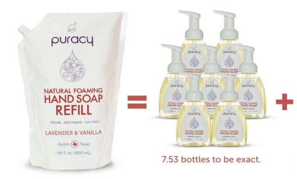 Amazon Puracy Natural Foaming Hand Soap 64oz Refill Packs