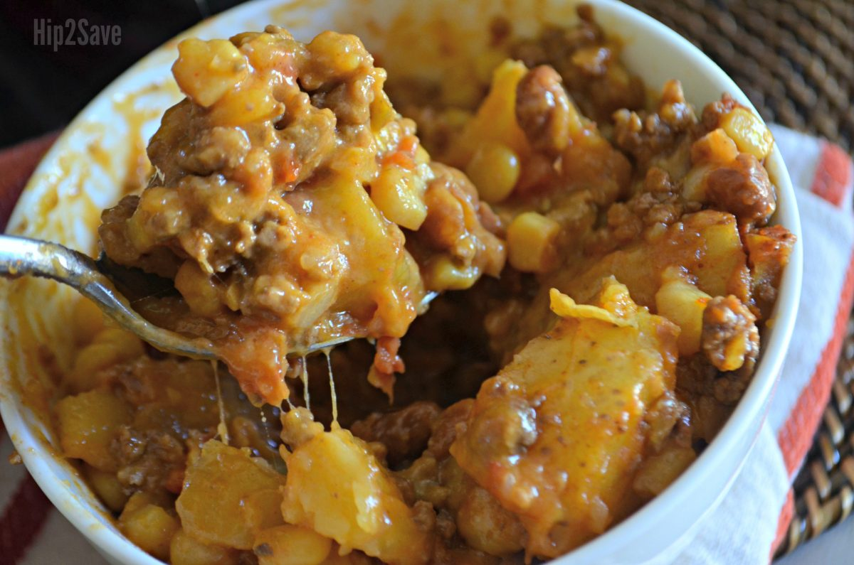 bowl of cowboy supper from the slow cooker