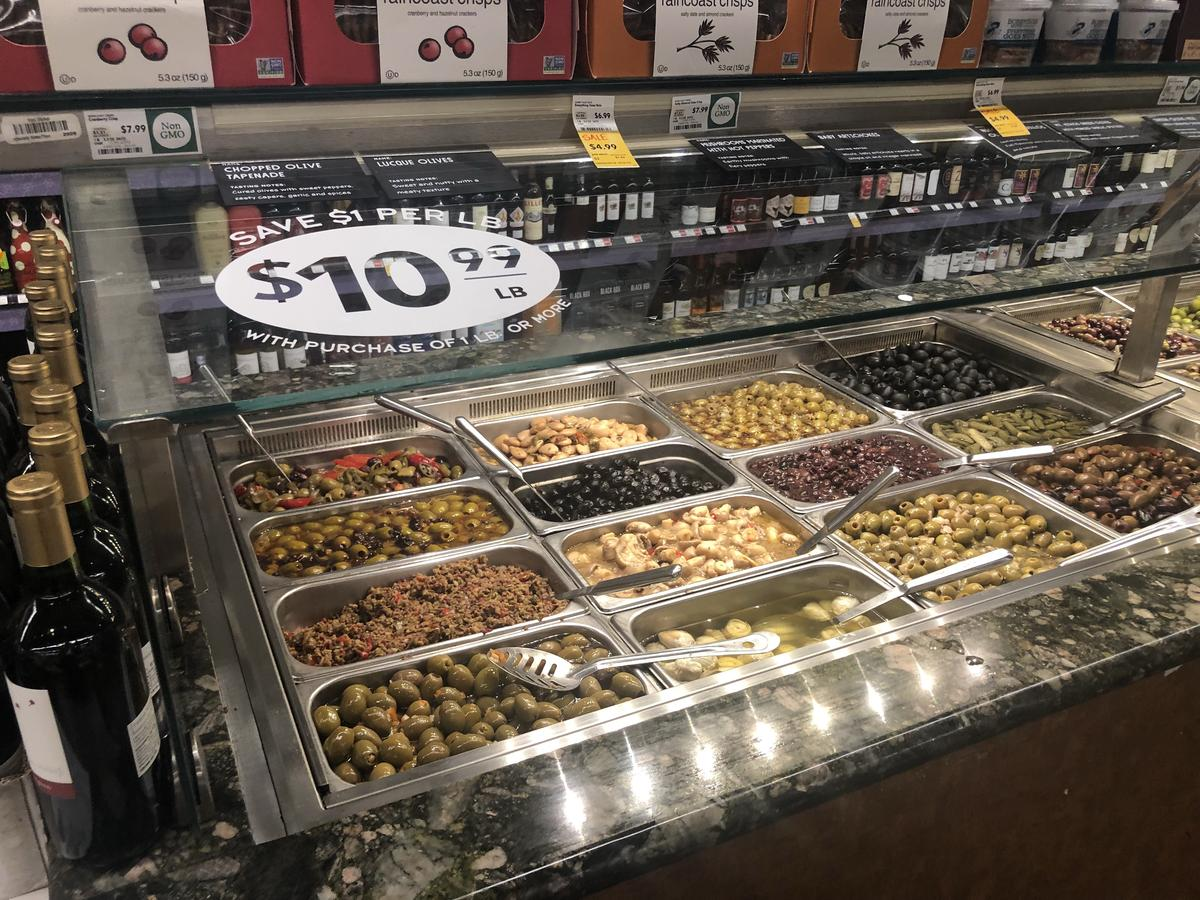 money-saving hacks at Whole Foods Market – close up of the olive bar