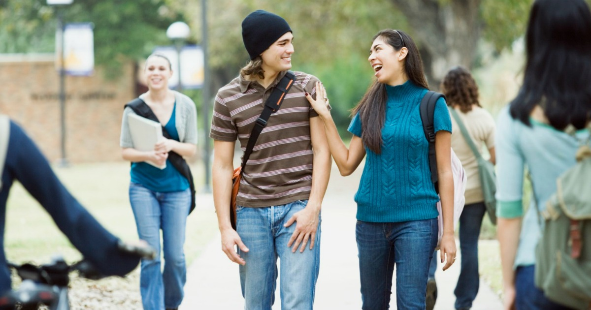 Amazon Prime Student free shipping and deals – College students laughing and talking