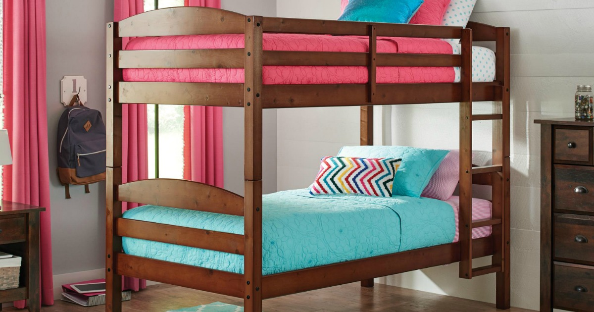 Wood Bunk Bed Set Two Twin Mattresses Only 199 Shipped Regularly