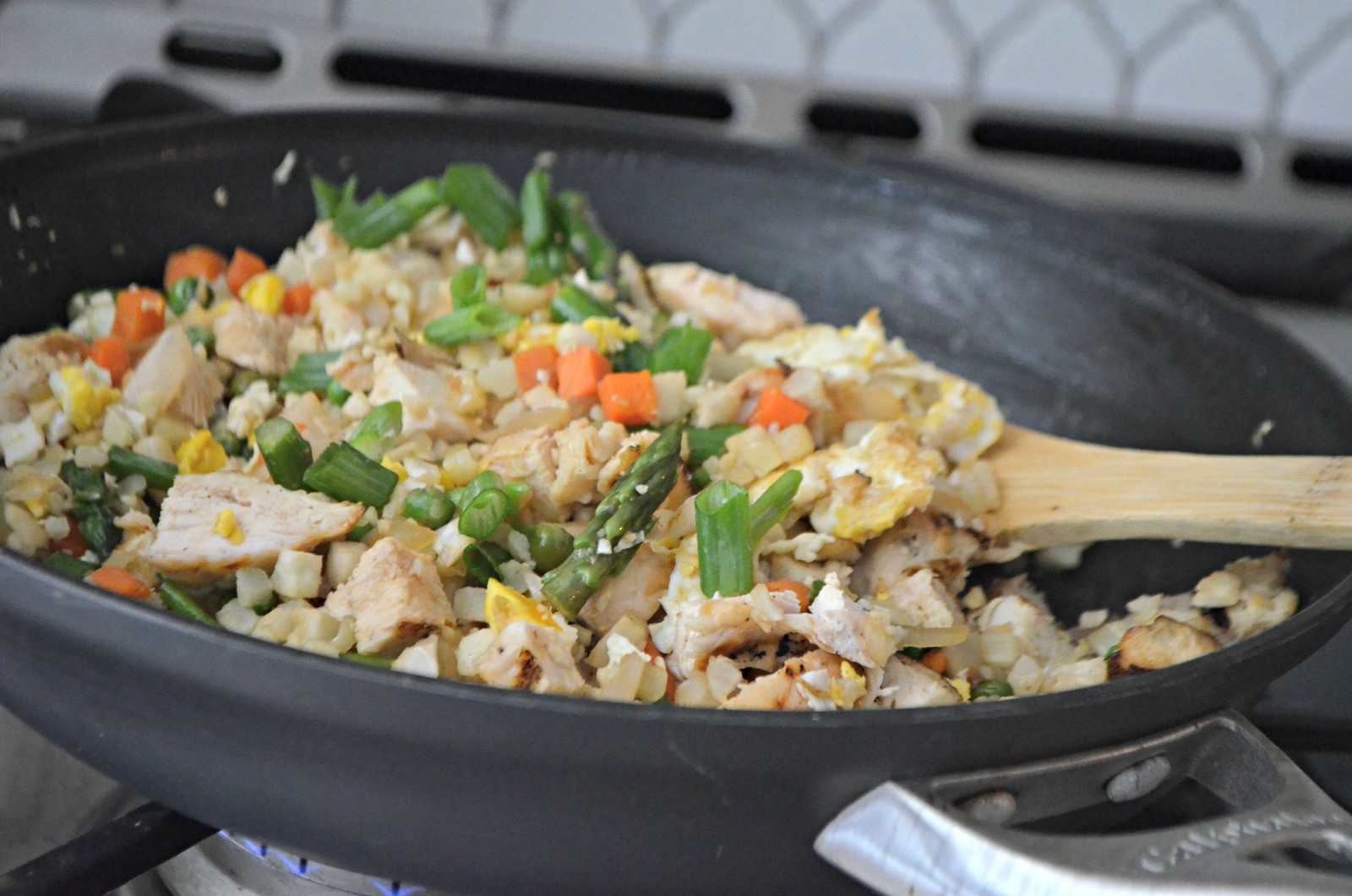 Cauliflower Fried Rice in a frying pan